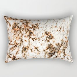 Autumn Granite // Orange and Brownish Natural Stone Patterns White Crystal Background Rectangular Pillow