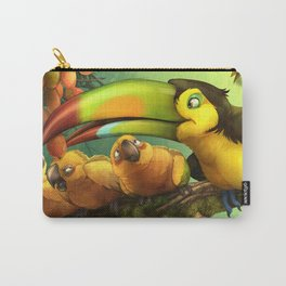 Toucan and Sun Conures : Jungle berries animal art painting birds feathers rain forest conservation Carry-All Pouch