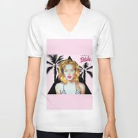 barbie V-neck T-shirts featuring Golden Barbie by Kendal Blake