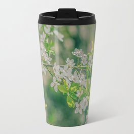 White Cherry Flowers Branch Close Up Spring Travel Mug