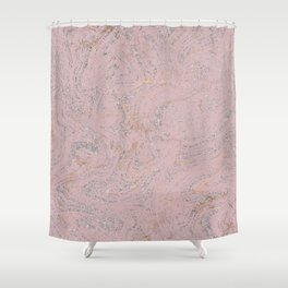 Elegant pink gold silver glitter marble Shower Curtain