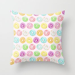 Watercolor pink sprinkle donuts Throw Pillow