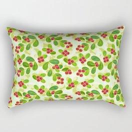 Cranberry Fruit Pattern on Green Rectangular Pillow
