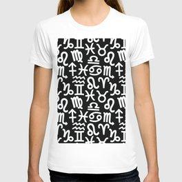 Zodiac signs background. Horoscope symbols. Astrology T-shirt