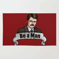 parks and recreation Area & Throw Rugs featuring Ron Swanson - Be a Man - Parks and Recreation by Hungry Designs