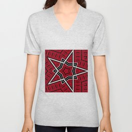 Red and Black Geometric Patterns Two Unisex V-Neck