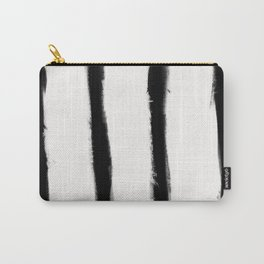 Medium Brush Strokes Vertical Black on Off White Carry-All Pouch
