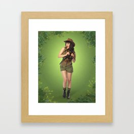 """Attention Campers"" - The Playful Pinup - Jungle Adventure Pin-up Girl by Maxwell H. Johnson Framed Art Print"