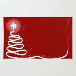Red Scrible Christmas Tree Rug