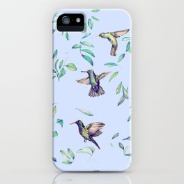 hummingbirds on celestial sky and leaves iPhone Case