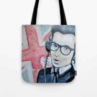 union jack Tote Bags featuring UNION JACK by Vin Zzep