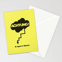 Achtung! Es regnet in strömen Stationery Cards