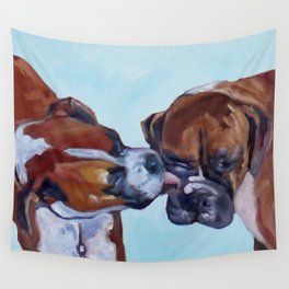 Kissing Boxers Dogs Portrait Wall Tapestry
