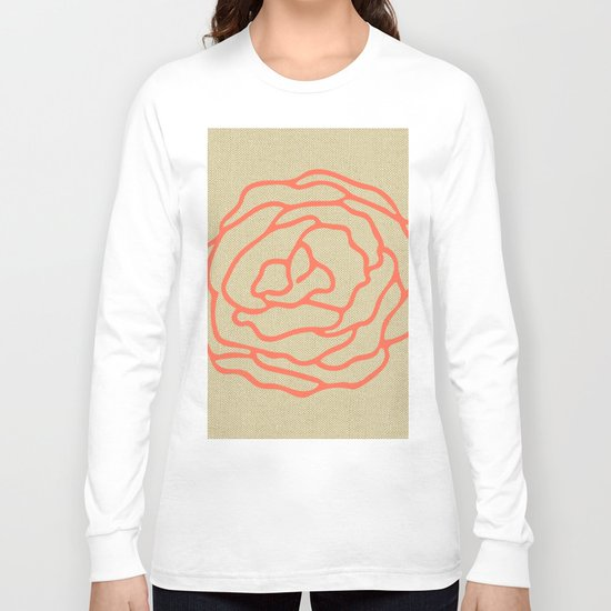 Rose in Deep Coral on Linen Long Sleeve T-shirt