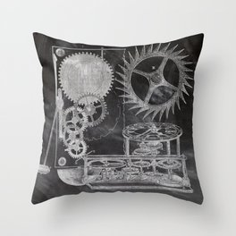 black and white vintage patent print chalkboard steampunk clock gear Throw Pillow