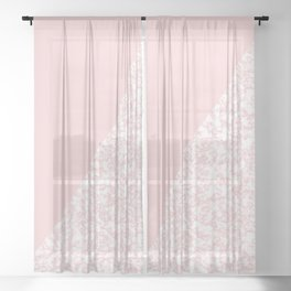 Soft Pink Marble Sheer Curtain