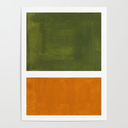 Olive Green Yellow Ochre Minimalist Abstract Colorful Midcentury Pop Art Rothko Color Field Poster