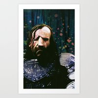 the hound Art Prints featuring THE HOUND by Chewgowski