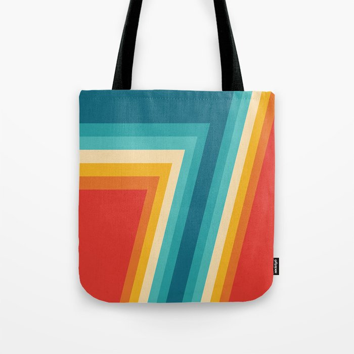 Colorful Retro Stripes  - 70s, 80s Abstract Design Tote Bag