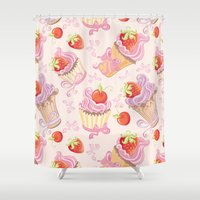 cupcakes Shower Curtains featuring Cupcakes by Julscela