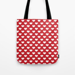 White Hearts Pattern Red Background Tote Bag