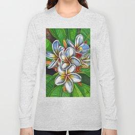 Yellow & White Plumeria Flowers Long Sleeve T-shirt