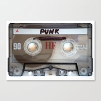 punk rock Canvas Prints featuring PUNK ROCK by The Family Art Project