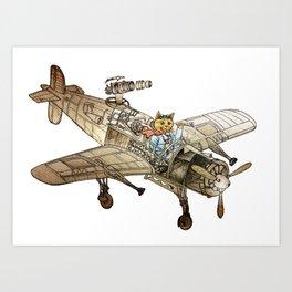 Flying Cat Art Print