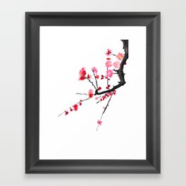 red plum flower red background Framed Art Print