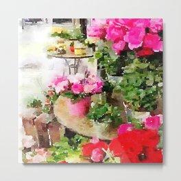 Paris Sidewalk Cafe With Pink Flowers Metal Print