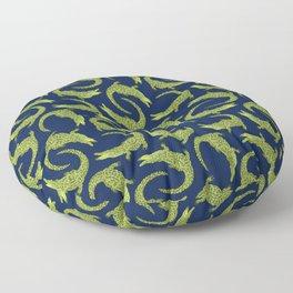 Crocodiles (Deep Navy and Green Palette) Floor Pillow