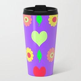 Purple daisy and heart all over print Travel Mug