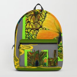 GREEN ART NOUVEAU BUTTERFLY PEACOCK PATTERNS Backpack