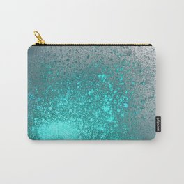 Vibrant Aqua and Grey Spray Paint Splatter Carry-All Pouch