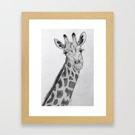 Flirty Giraffe Pencil Portrait Framed Art Print