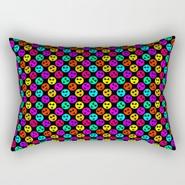 Mini Smiley Bikini Bright Neon Smiles on Black Rectangular Pillow