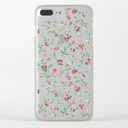 Little blue, pink and purple flowers pattern Clear iPhone Case