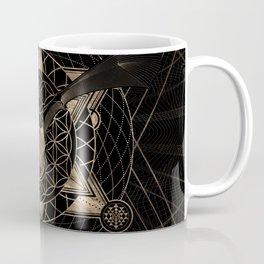 Bat in Sacred Geometry - Black and Gold Coffee Mug