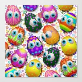 Cute Easter Eggs Cartoon 3d Pattern Canvas Print