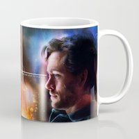 will graham Mugs featuring Hannibal Lecter and Will Graham - Less Alone Print by thecannibalfactory