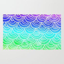 Modern summer scallop fish scale watercolor neon gradient pattern Rug