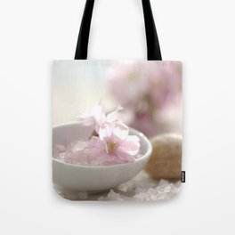 Still life for Bathroom with almond blossoms Tote Bag