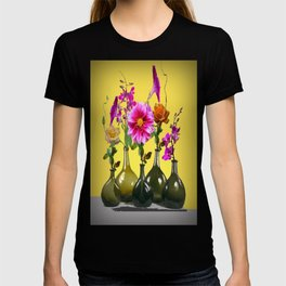 Garden Flowers Bottle Arrangement Still Life T-shirt