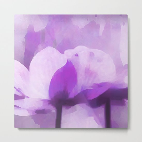 Abstract Painting Anemone Flower Purple Metal Print