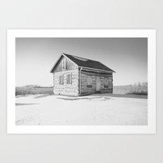Wisconsin Log Cabin - Black & White Art Print