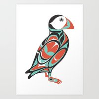puffin Art Prints featuring Puffin by Siggi Odds