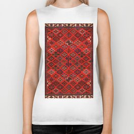 -A30- Red Epic Traditional Moroccan Carpet Design. Biker Tank