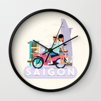 backpack Wall Clocks featuring SAIGON by Adam Moroncsik