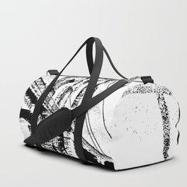 Sketched Brooklyn Bridge White on Black Duffle Bag