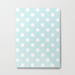 Polka Dots - White on Light Cyan Metal Print
